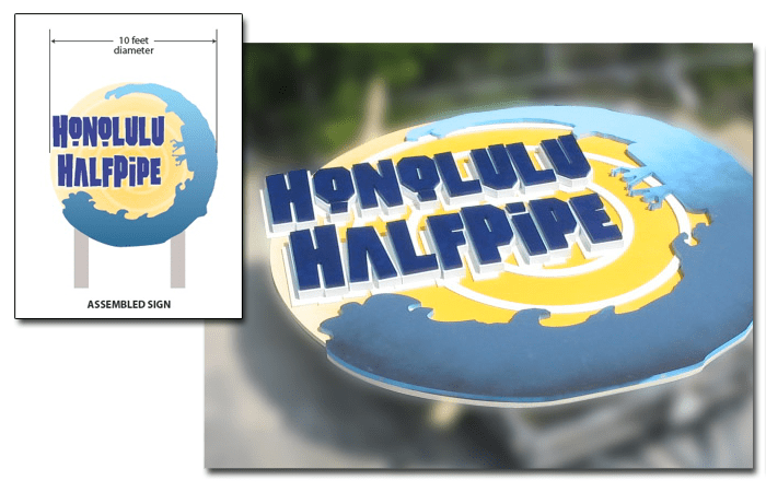 Unique Sign Designs Honolulu HalfPipe Theme Park Sign