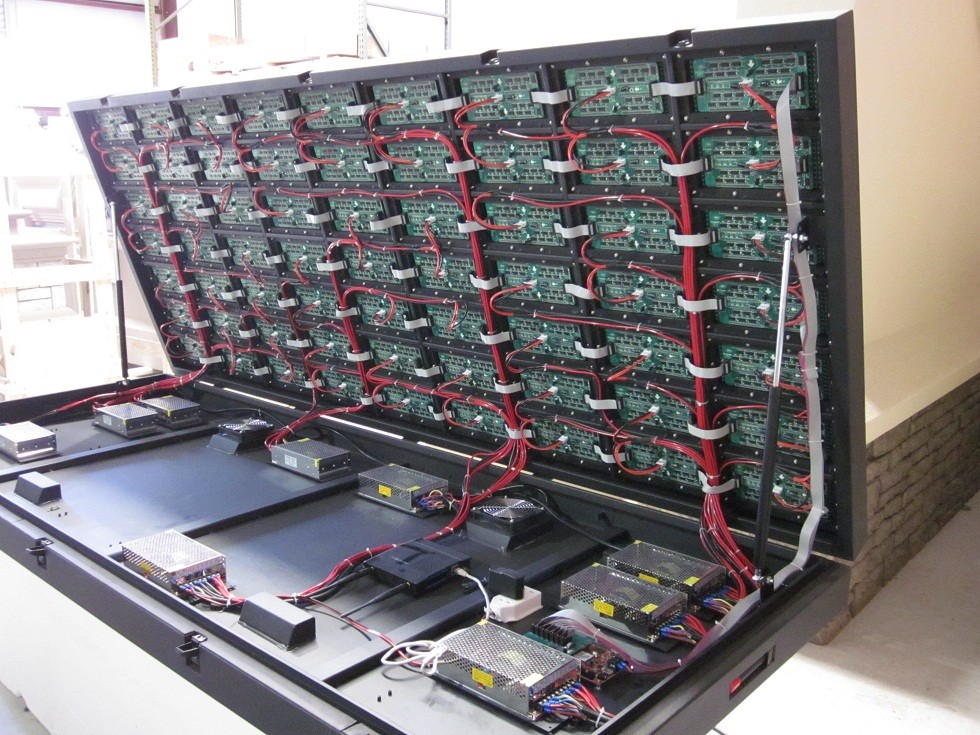 LED Cabinet Open - Internal Power Supplies and Wiring of Modules