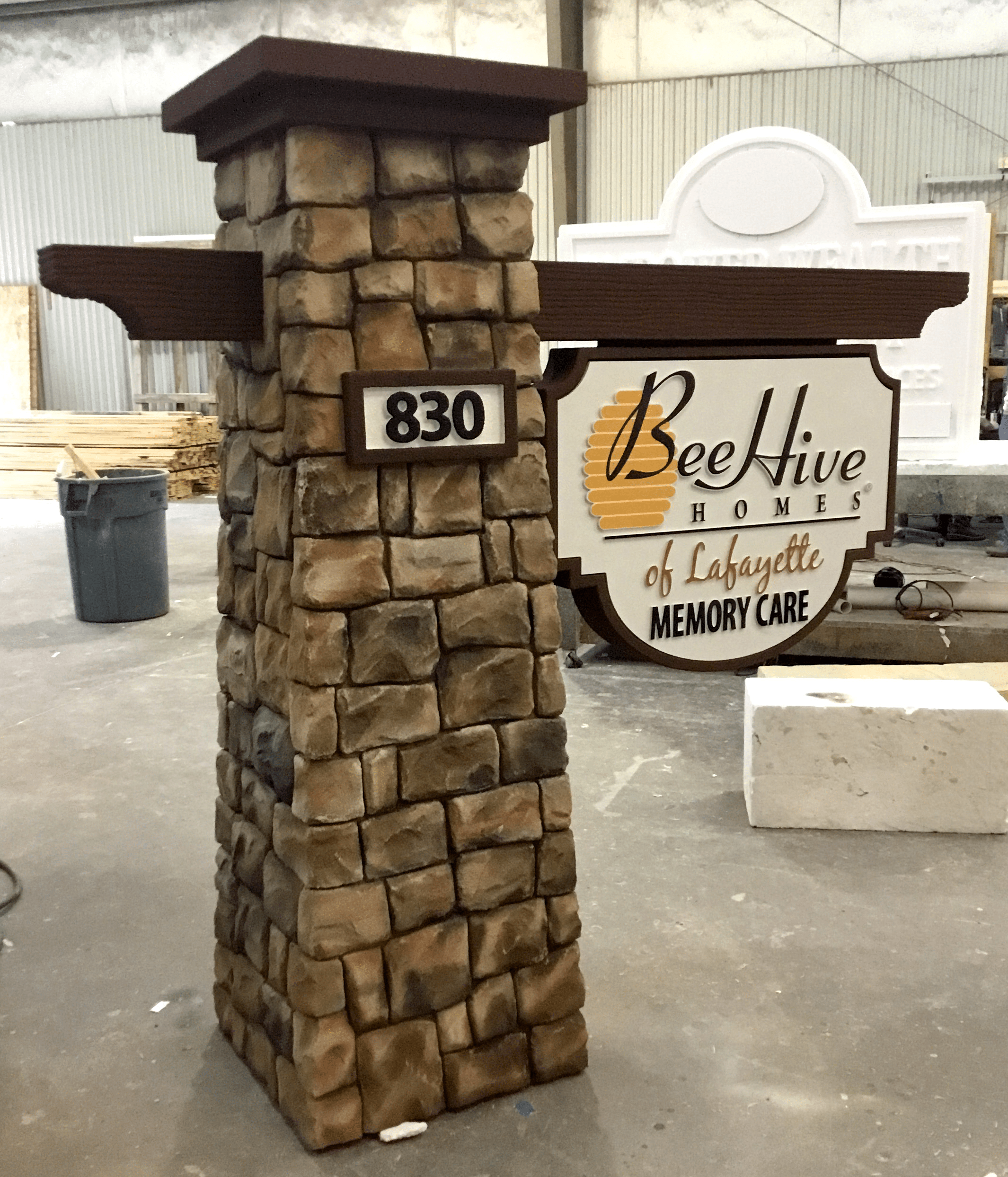 Beehive Break Away Faux Block Stone Sign Column Monument
