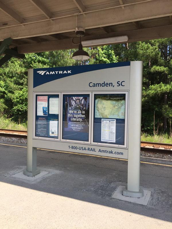 Amtrak Signage - Amtrak Camden, SC Station Information Directory