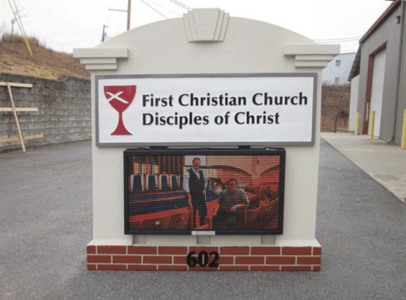 Church Sign Monuments - First Christian Church with Full-Color LED Panels