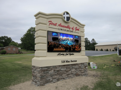 Church Sign Monuments - First Assembly Full-Color LED Sign Monument Installed