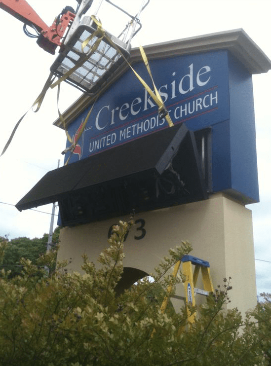 Church Sign Monuments - Creekside Methodist Church Full-Color LED Sign Monument