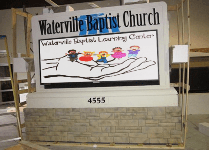 Church Sign Monuments - Baptist Church Full-Color LED Sign Monument Before Shipping