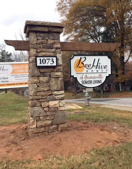 Beehive Block Stone Sign Column Monument. Break Away Sign Monuments.