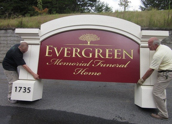 Evergreen Funeral Home Monument Signs