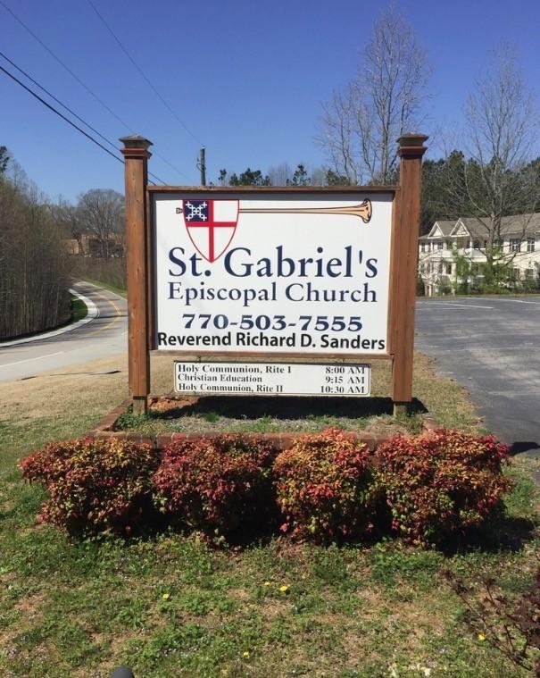 Saint Gabriel's Church dilapidated sign that needs replacing.