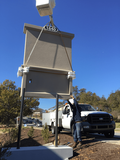 How To Install Sign Monument - Sign Monument With Bucket Truck To Lift In Place
