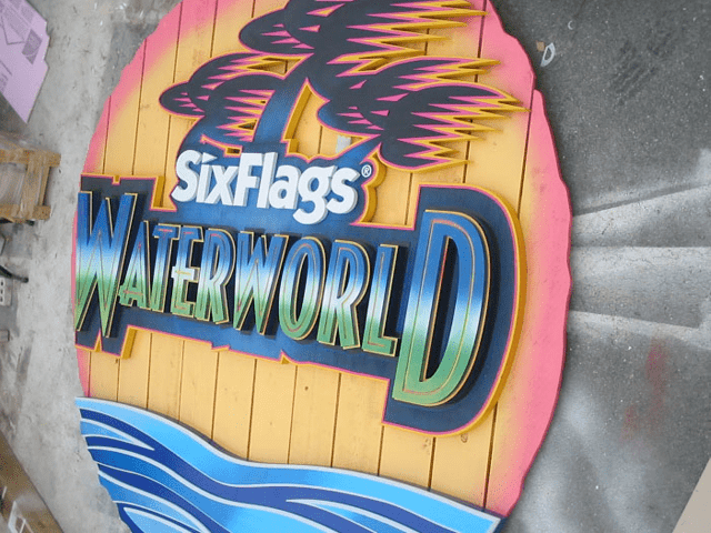 Six Flags Theme Park Waterworld Ride Sign Complete 2