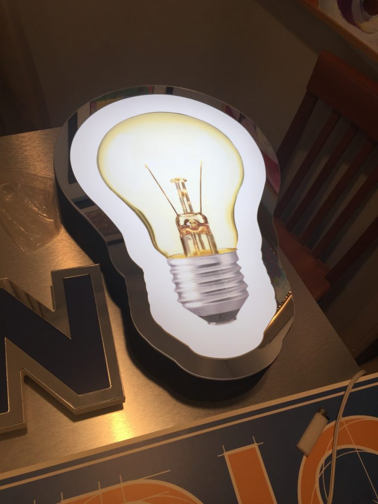innovation studio white LED internal lit light bulb - Back-lit LED Letters