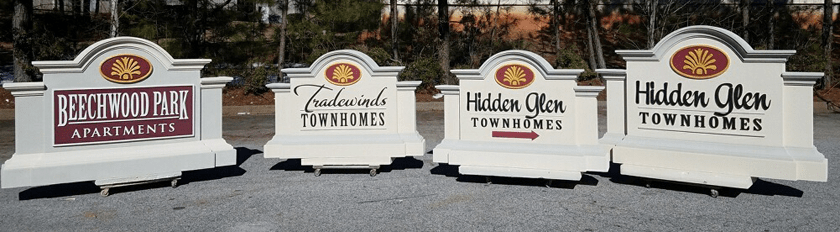Custom wood signs do not last - Architectural monument forms will impress and will last.