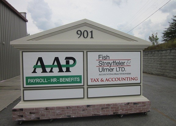 Changeable Tenant Panels On Custom Business Park Entrance Sign Monument - Changeable Message Outdoor Sign Monuments