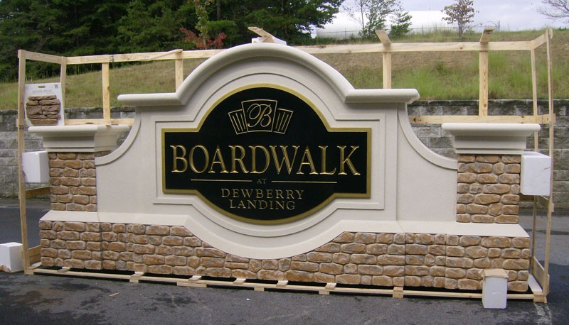Boardwalk Faux Masonry Sign Monument