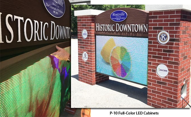 Full-Color LED Cabinets on City Sign Monument - Changeable Message Outdoor Sign Monuments