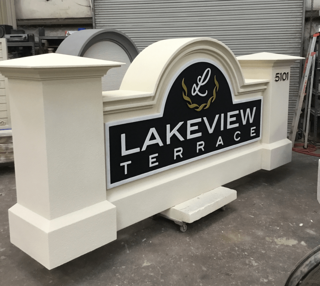 Lakeview Terrace Neighborhood Entrance Sign - Custom Subdivision Entrance Signs
