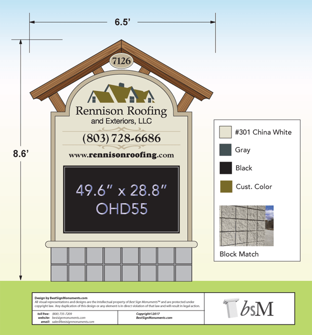Monument Sign Design Services - Roofing Company Example. Custom Monument Signs