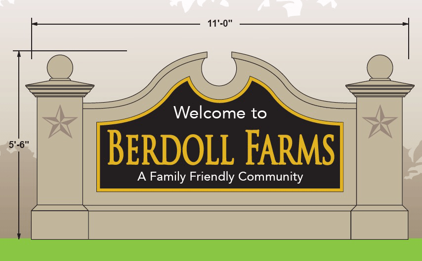 Sign Monument Design Drawing - Berdoll Farms