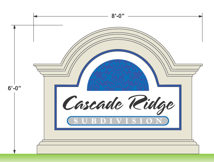 Subdivision Sign Monument Design - Cascade Ridge