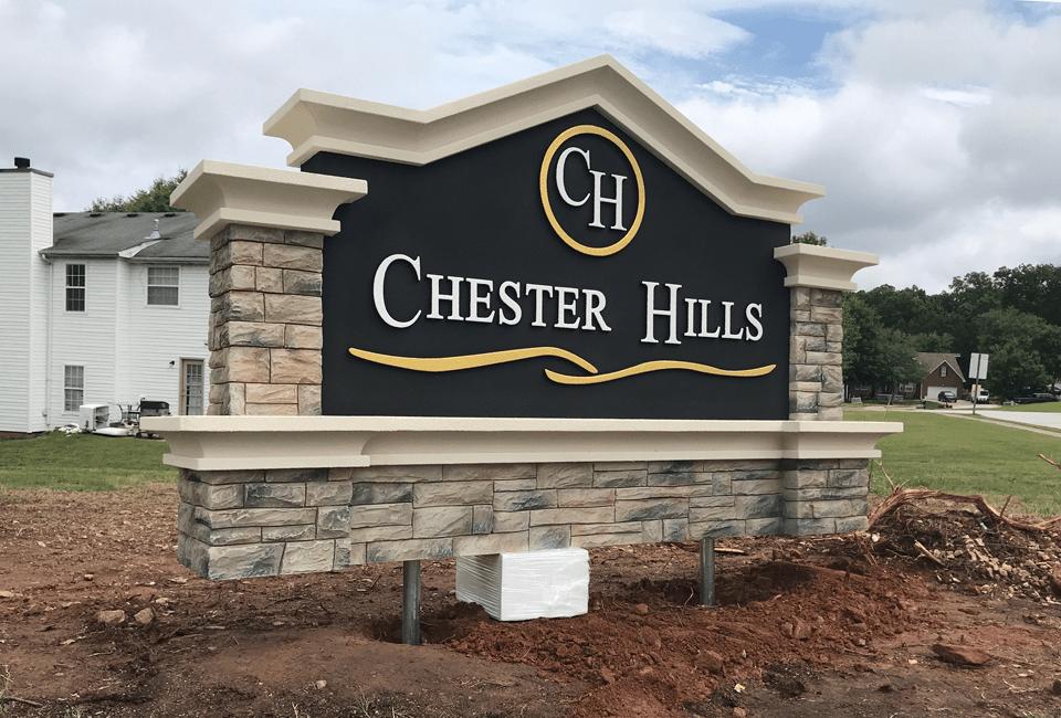 Chester Hills Community Entrance Sign Installed - Foam Blocks