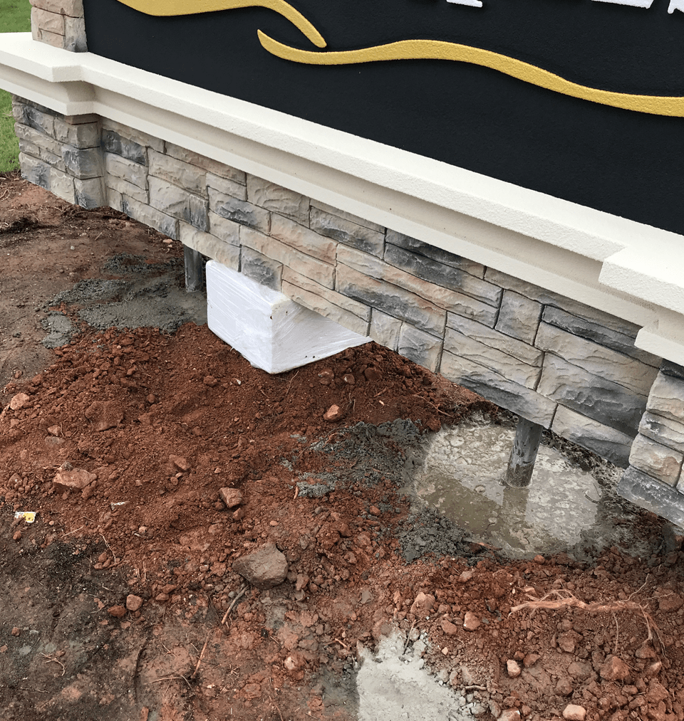 Chester Hills Entrance Sign Monument - Install Concrete Footers