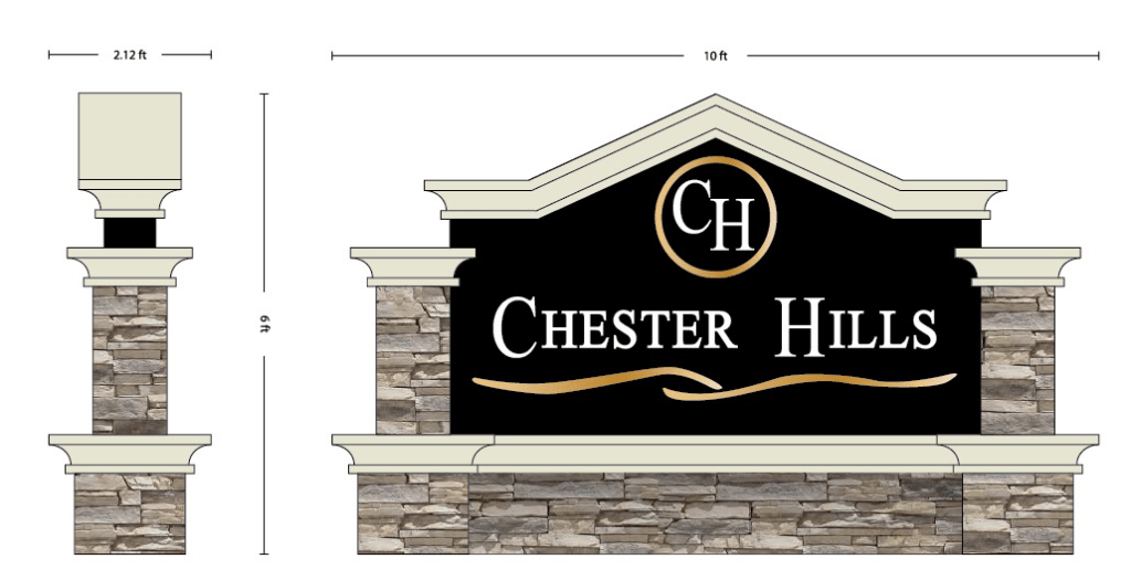 Chester Hills Neighborhood Entrance Sign Production Proof