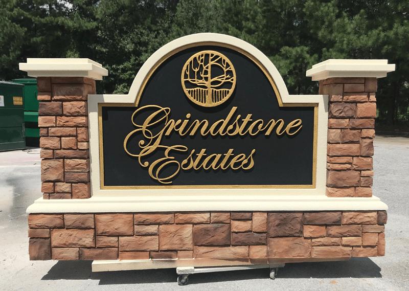 Community Entrance Sign Grindstone Estates - Faux block stone