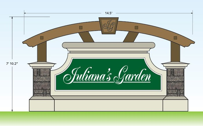 Custom Monument Signs Design - Juliana's Garden