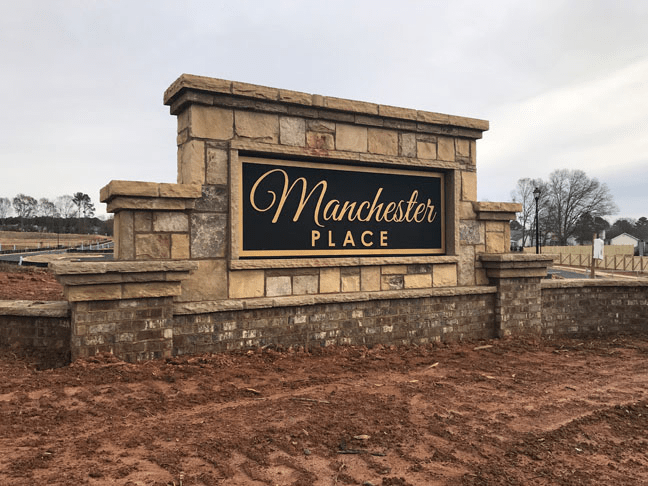 Entrance Sign - Community Masonry - Sandblasted Sign Panel