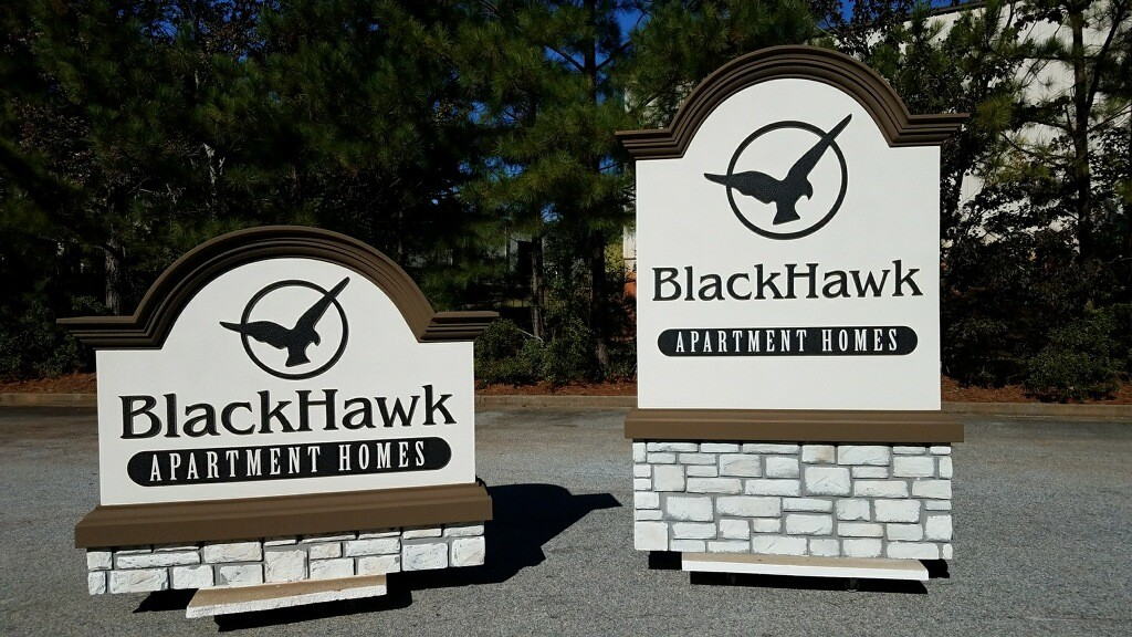 Stone Sign Monuments with Faux River Block Granite - Blackhawk Apartments