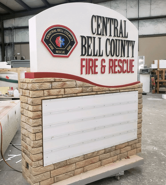 Fire and Rescue Department Sign Monument Changeable Reader Board