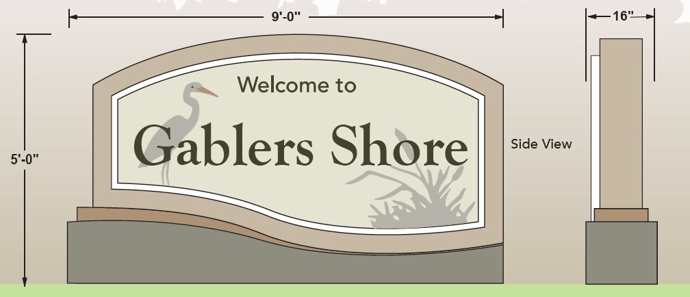 Neighborhood Sign Monument Design - Gablers Shore