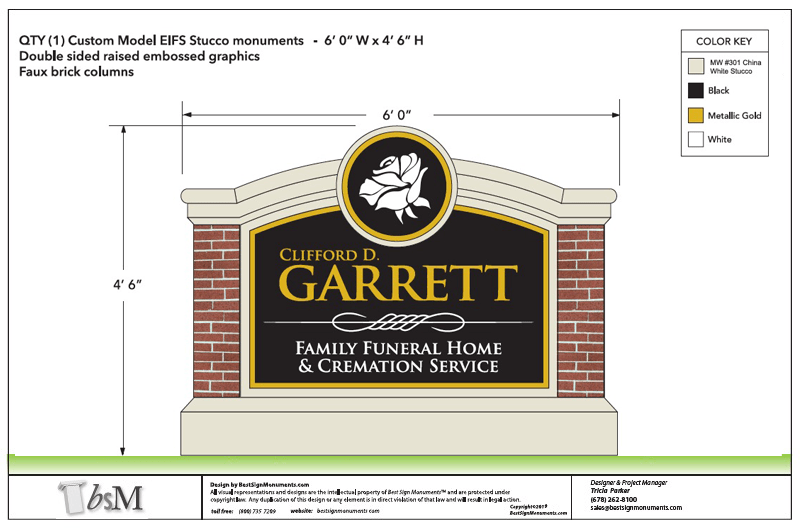 Garrett Funeral Home Sign Monument Design