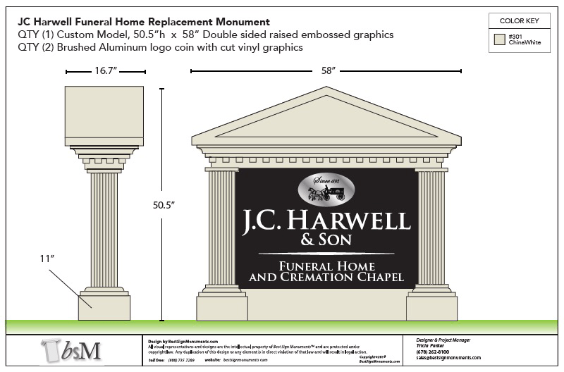 J C Harwell Funeral Home Sign Monument Design