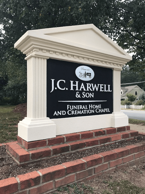 J C Harwell Funeral Home Sign Monument