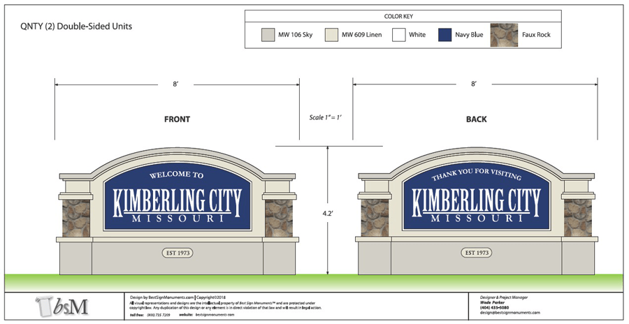 Kimberling City Entrance Sign Design