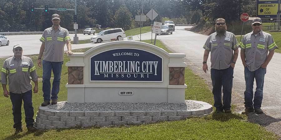 Kimberling City Entrance Sign Public Works Install