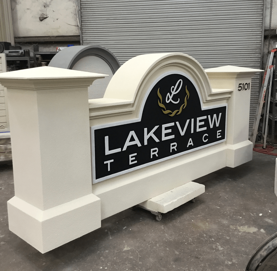 Lakeview Terrace Neighborhood Community Entrance Sign Monument Before Shipping