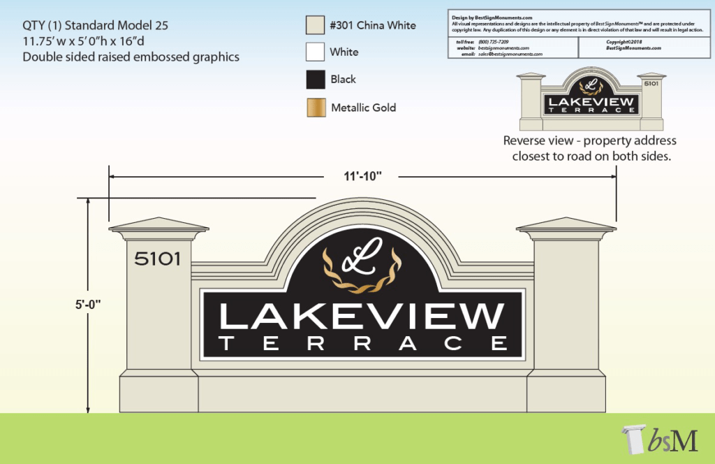 Lakeview Terrace Neighborhood Community Entrance Sign Monument Design