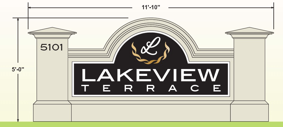 Neighborhood Sign Monument Design - Lakeview Terrace