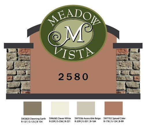 Meadow Vista Community Entrance Sign Monument Design