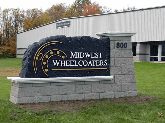 Midwest Wheelcoaters Cusiness Sign Monument Installed