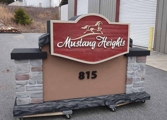 Mustang Heights Community Entrance Sign Monument