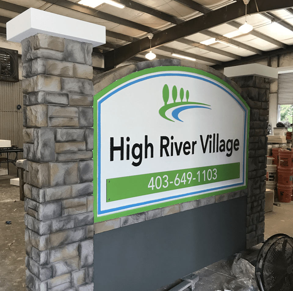 Neighborhood Entrance Sign Monument - High River