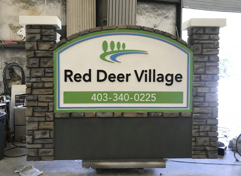 Neighborhood Entrance Sign Monument - Red Deer Village