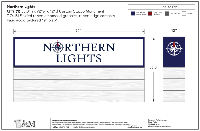 Northern Lights Shiplap Monument Design