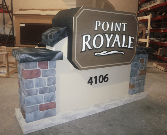 Point Royale Community Entrance Sign Monument Complete