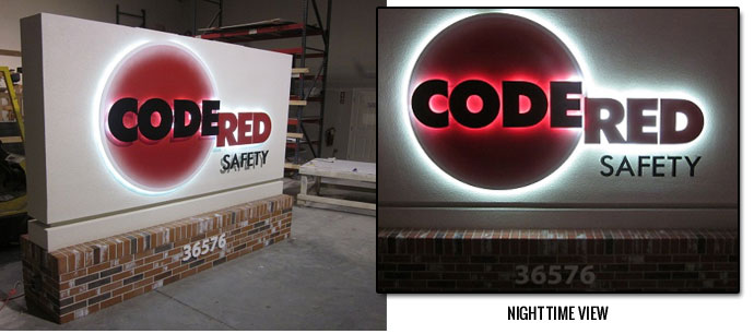 Outdoor Lighted Business Sign Back-Lit Graphics - Code Red