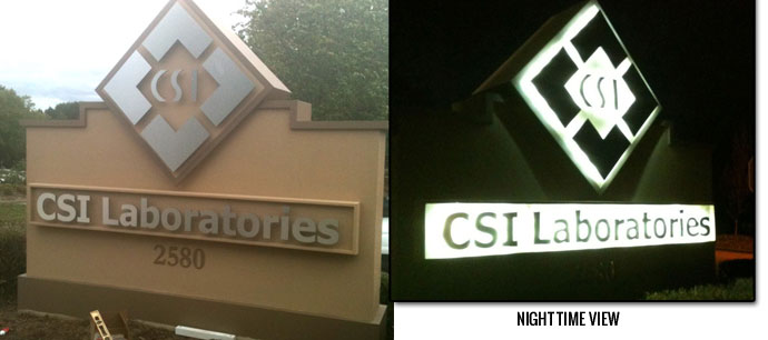 Outdoor Lighted Business Signs with Back-Lit Graphics - CSI Laboratories