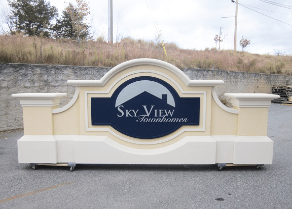 Two Sign Monuments With Same Names - Skyview Townhomes Sign Monument Complete