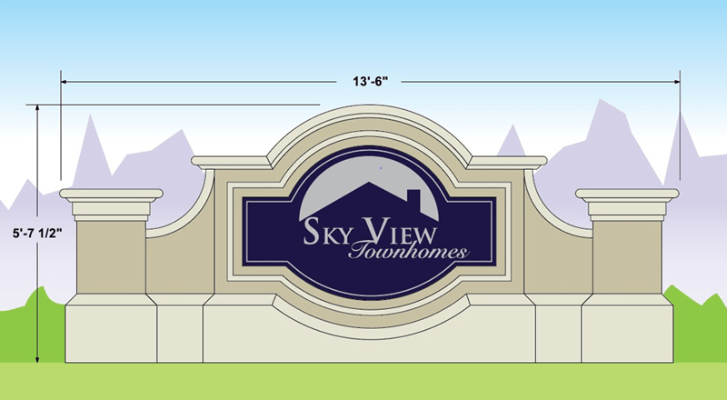Two Sign Monuments With Same Names - Skyview Townhomes Sign Monument Design